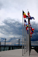 National flags blowing in wind, Bregenz, Austria