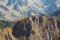 Aerial view of rugged mountain ridge, France