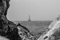 Lonely boat on sea, Michigan, USA