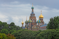 Russian Cathedral among trees, St. Petersburg, Russia
