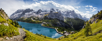 Fedaia Lake and Marmolada in wide-angle view, Trentino, Italy