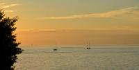 Sunset over sea, Trieste, Italy