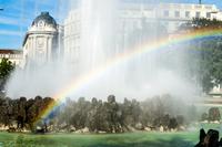 Rainbow over fountain, Vienna, Austria