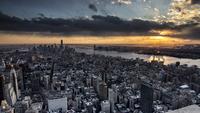 Cloudy sunset over Midtown Manhattan, New York City, New York, USA