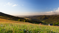 Rural landscape with remote Black Forest, Freiburg, Germany