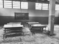 Haitian classroom in poor area, Haiti