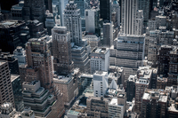 Aerial view of skyscrapers, New York City, USA
