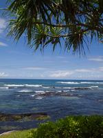 Tropical seashore under cloudy sky, Big Island, Hawaii