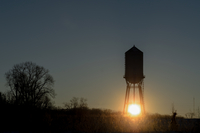Sunrise above water tower, Arden Hills, USA