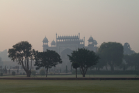 Taj Mahal in fog, Uttar Pradesh, India