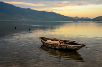 Old boat on lake, Lang co, Hue, Vietnam