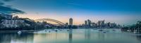 Sunrise over city, Sydney, Australia