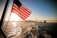 American flag hanging on boat, San Francisco, California, USA
