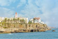 Estoril town on cliff on seashore, Estoril, Lisboa Region, Portugal