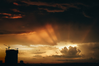 Sun rays behind cloud
