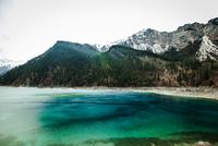 View of green lake, Jiuzhaigou, Sichuan, China