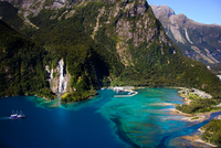 Aerial view picturesque bay, Milford Sound, New Zealand