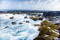 Waves crashing against rocky coastline, Brazil