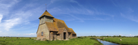 Church in field, Romney Marsh, England