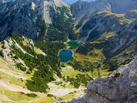 Aerial view of Soiernsee lake surrounded by mountains of Karwendel range in Northern Limestone Alps, Mittenwald, Bavaria, German