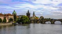 Charles Bridge over Vltava river and Prague old town, Prague, Czech Republic
