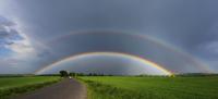 Double rainbow above road, Czech Republic