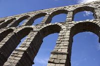 Aqueduct against blue sky, Segovia, Spain