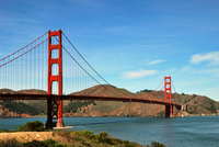 Blue sky over Golden Gate Bridge, Golden Gate Bridge, San Francisco, California, USA