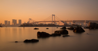 River and bridge at sunset, Tokyo, Japan
