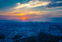 Tokyo cityscape at sunset, Tokyo, Japan