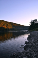 Rocky coastline of Delaware River, Highland, New York, USA