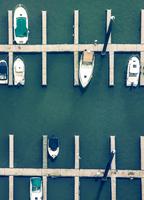 Docked boats in harbor