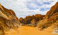 Rugged arid landscape under partly cloudy sky, Jijoca de Jericoacoara, Ceara, Brazil