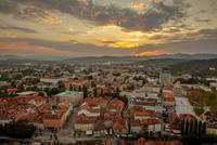 Sunset over city, Ljubljana, Slovenia