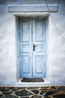 Blue door and white wall, Greece