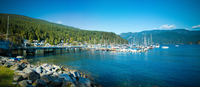 Boats in bay on sunny day, Vancouver, Canada