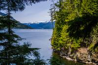 Revelstoke lake with mountains in background, Revelstoke, British Columbia, Canada