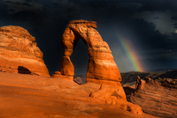 Rainbow over rock formations, Utah, USA