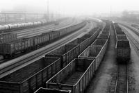Freight trains with empty cargo containers standing on tracks in fog