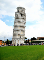 Tourists by Leaning Tower of Pisa, Pisa, Italy