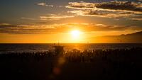 Sunset over sea, Los Angeles, California, USA