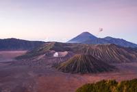 Mount Bromo volcano of Tengger massif under clear sky at sunset in Bromo Tengger Semeru National Park, East Java, Indonesia