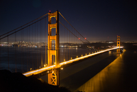 Golden Gate Bridge at night seen from Battery Spencer, San Francisco, California, USA