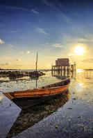 Boat against blue sky, Kelong, Indonesia