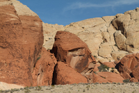 Rock formation in desolate desert of Red Rock Canyon, Las Vegas, Nevada, USA