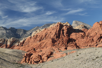 Sandstone rock formation in desolate deserts of Red Rock Canyon, Las Vegas, Nevada, USA