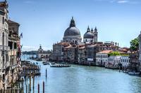 Canal Grande and Santa Maria della Salute on sunny day, Venice, Veneto, Italy