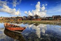 Village on coastline, Bintan Island, Indonesia