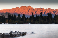 Lake Wakatipu and mountain landscape at sunset, Queenstown, New Zealand