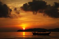 Silhouette of boat at sunrise, Koh Rong Sanloem, Sihanoukville, Cambodia